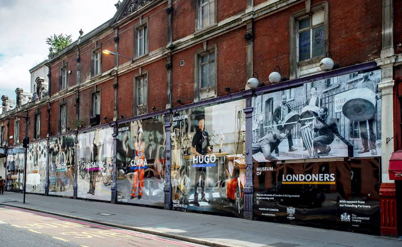 site hoarding graphics for the museum of london