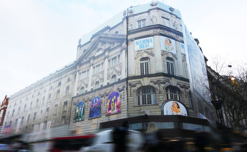giant building wrap for Novello theatre
