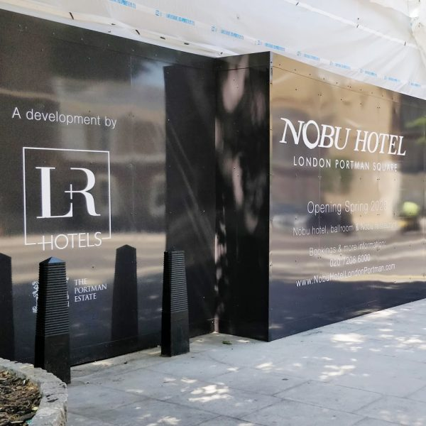 Nobu Hotel site hoarding graphics