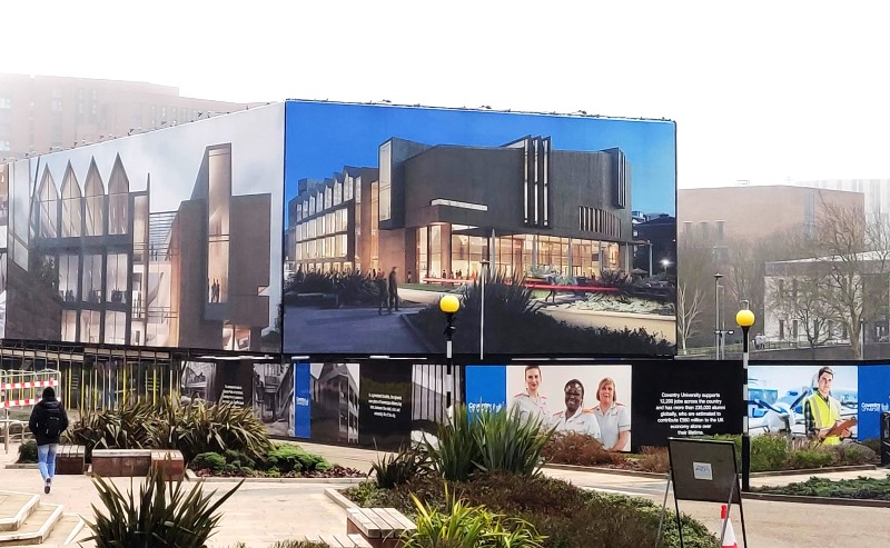 Coventry University printed site hoardings