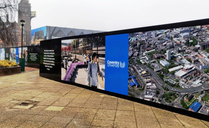 Coventry University building site hoarding graphics