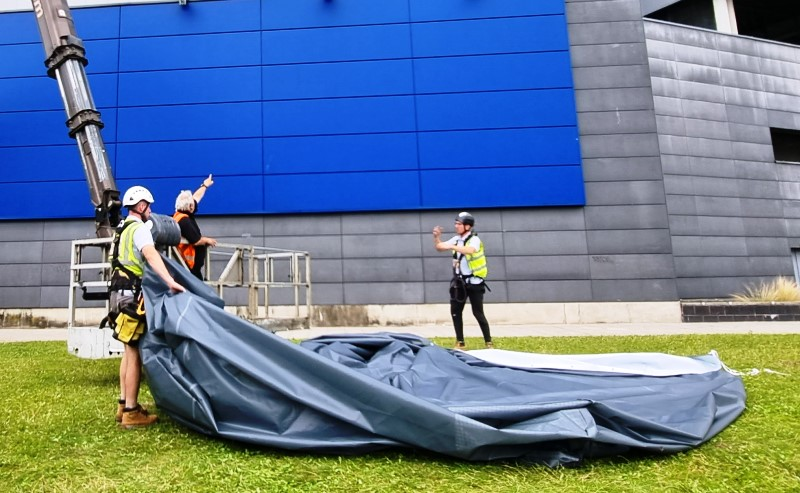 Giant outdoor sculpture wrap