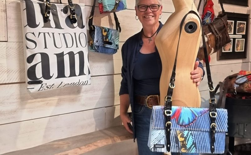 Griggsy Hand Bag Designer turning spent banners into bespoke bags