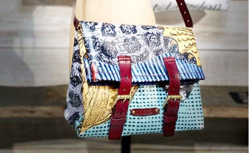 Repurposed spent banners into bespoke bags