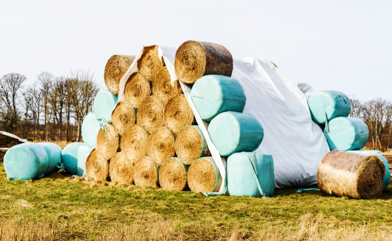Spent PVC building wrap over bales of straw